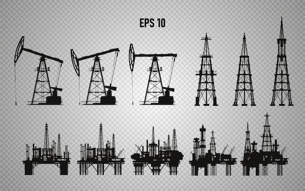 Platformy wiertnicze. produkcja oleju. ilustracja
