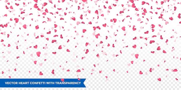 Płatki różowego serca spadają. tło valentine