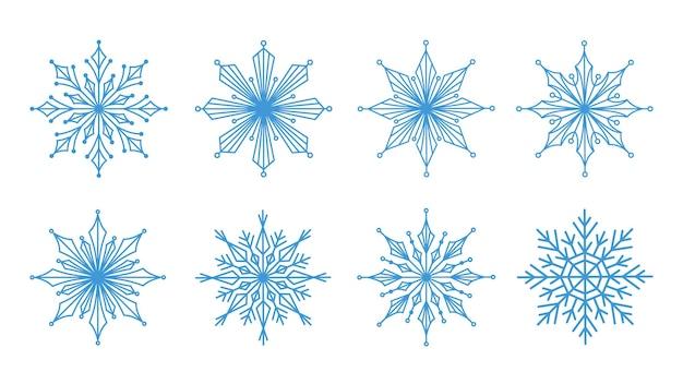Płatki śniegu duży zestaw ikon wesołych świąt i nowego roku elementy projektu zimowego