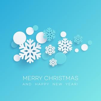 Płatki śniegu i okrągłe konfetti cięcia papieru ilustracja. wesołych świąt i szczęśliwego nowego roku pozdrowienia. ozdoby choinkowe i elementy wycinane z papieru. plakat, projekt banera. izolowany wektor