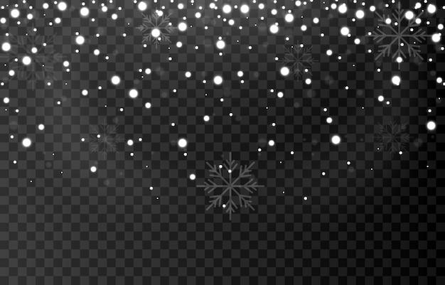 Płatki śniegu na na białym tle
