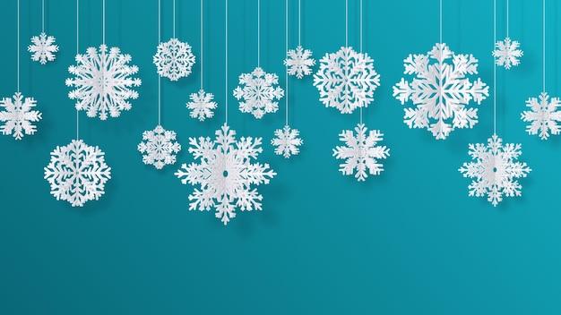 Płatki śniegu wycięte z papieru. boże narodzenie na białym tle filigranowe elementy dekoracji, zima śnieg streszczenie tło. wektor 3d na białym tle płatki śniegu z białej księgi do zawieszenia wystroju