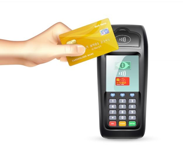 Płatniczy terminal z kredytową kartą