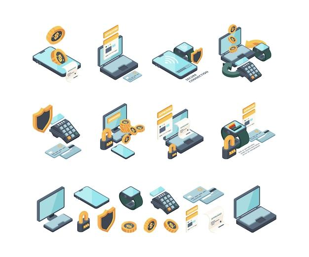 Płatność cyfrowa. bankowość internetowa online mobilne sprawdzanie rachunków elektroniczne karty mobilności portfele wektor kolekcja izometryczna. ilustracja płatności elektronicznych cyfrowych finansów mobilnych