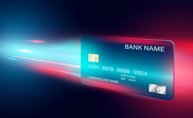 Płatność kartą kredytową na niebieskim tle koncepcji