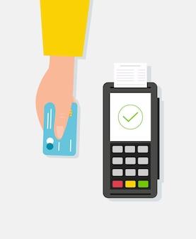 Płatność kartą kredytową za pomocą terminala pos. styl kreskówki