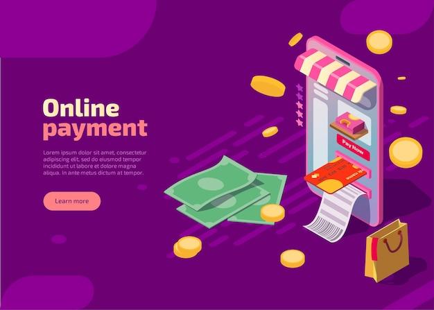 Płatność online izometryczna ilustracja transakcja finansowa, płatności internetowe