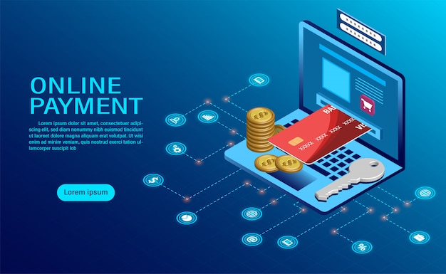 Płatność online z komputerem. ochrona pieniędzy w transakcjach laptopa.