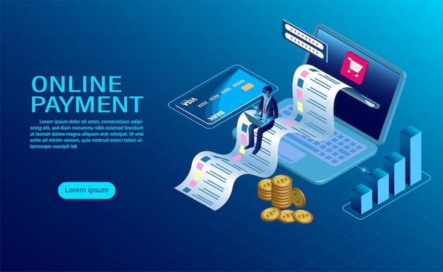 Płatność online z komputerem. ochrona pieniędzy w transakcjach na laptopie. nowoczesny projekt płaski izometryczny