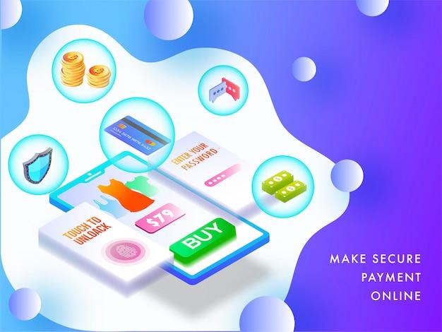 Płatność online z koncepcji aplikacji.