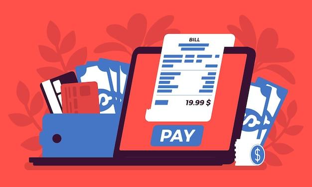 Płatność online za cyfrowy rachunek. zakupy, regulacja finansowa przez ekran laptopa, technologia wymiany portfela, przesyłanie pieniędzy z komputera, usługi elektroniczne. ilustracja wektorowa