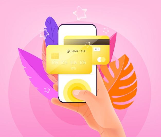 Płatność online za pomocą koncepcji smartfona. człowiek posiadający nowoczesny smartfon i dotykając ekranu. ilustracja w modnym stylu