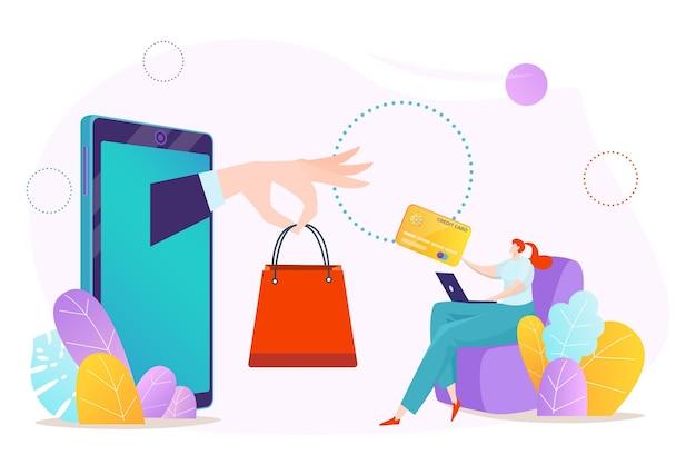 Płatność online za pomocą smartfona, kup w telefonie komórkowym ilustracja technologii sklepu