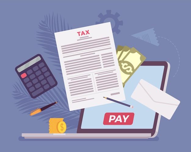 Płatność podatku online za pomocą laptopa