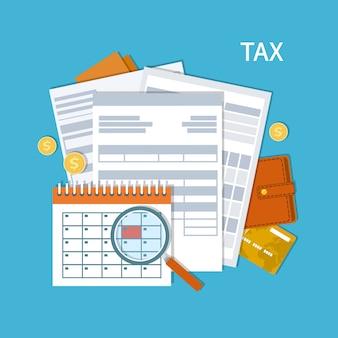 Płatność podatku. podatki rządowe, stanowe. dzień zapłaty. formularz podatkowy, kalendarz finansowy, lupa, pieniądze, złote monety, portmonetka, karta kredytowa, faktury. dzień wypłaty. ilustracja.