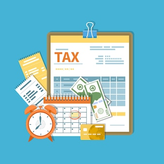 Płatność podatku. podatki rządowe, stanowe. dzień zapłaty. formularz podatkowy w schowku, kalendarz finansowy, zegar, pieniądze, gotówka, karta kredytowa, faktury.