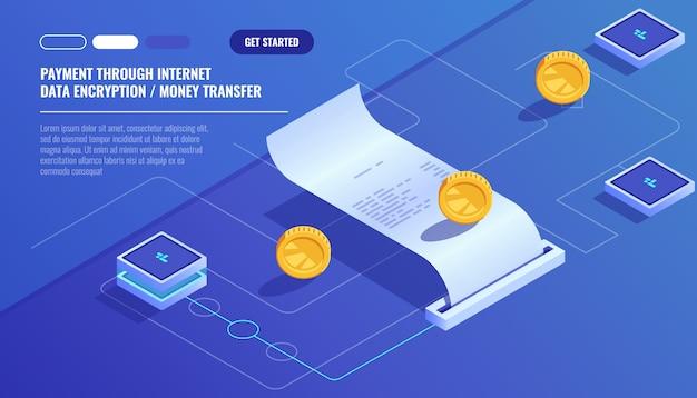 Płatność przez internet, przelew pieniędzy za szyfrowanie danych, płatny rachunek elektroniczny