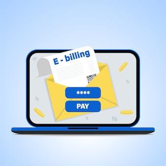 Płatność rachunków online. koncepcja faktury elektronicznej i bankowości internetowej