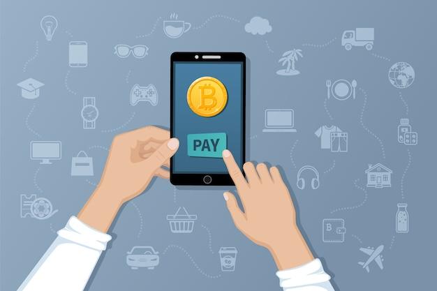 Płatność w bitcoinach. obsługa płatności przelewów międzynarodowych za pomocą elektronicznej wirtualnej waluty.