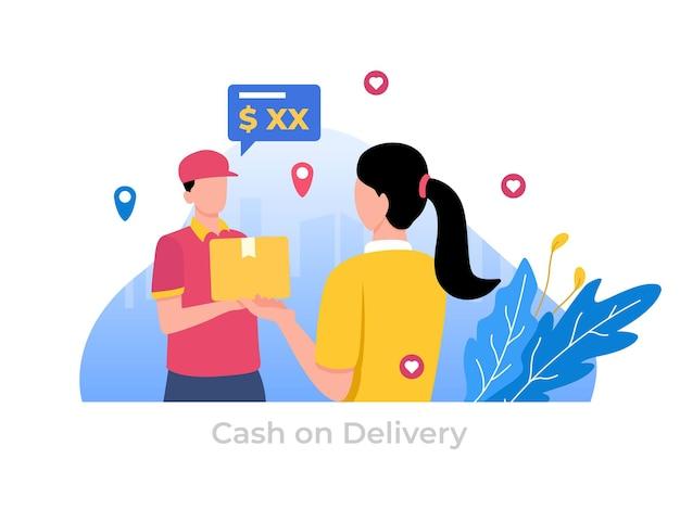 Płatność za pobraniem za pomocą ilustracji gotówkowej