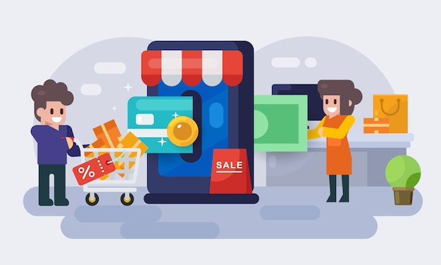 Płatność za zakupy online. ludzie robią zakupy za pośrednictwem strony internetowej i telefonu komórkowego za pomocą karty kredytowej. płaska ilustracja