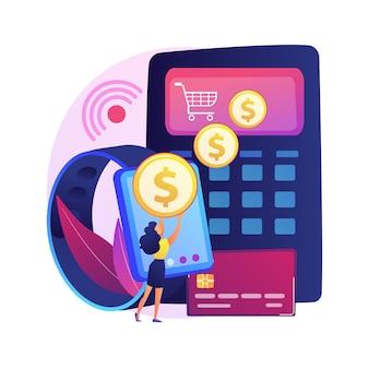 Płatność zbliżeniowa. czytnik kart kredytowych. włącz nfc. sprytne zakupy, transakcja finansowa, przelew pieniędzy. e-commerce z inteligentnym zegarkiem. terminal online. ilustracja koncepcja na białym tle.