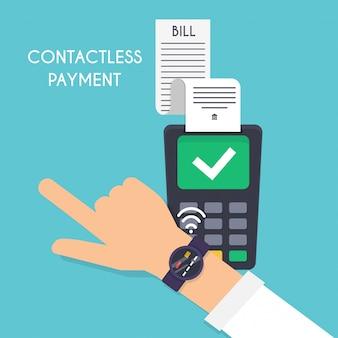 Płatność zbliżeniowa. mężczyzna płaci z inteligentnym zegarkiem. ilustracja systemu płatności na koncepcji urządzeń poręcznych bransoletek.