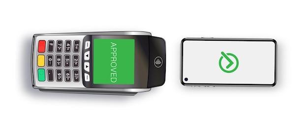 Płatność zbliżeniowa za towar. płatność za zakupy telefonem komórkowym. terminal płatniczy i smartfon. e-commerce i biznes. wektor realistyczny na białym tle