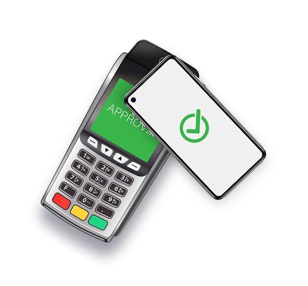 Płatność zbliżeniowa za towary płatność za zakupy za pomocą terminala płatniczego telefonu komórkowego i smartph...