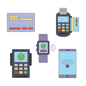 Płatność zbliżeniowa zestaw pięciu ikon