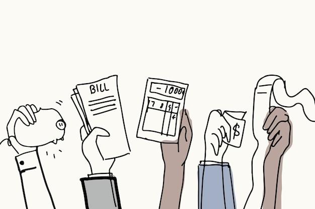 Płatności finansowe doodle wektor koncepcja długu