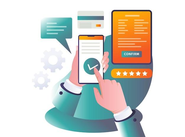 Płatności i formularze online na płaskiej ilustracji
