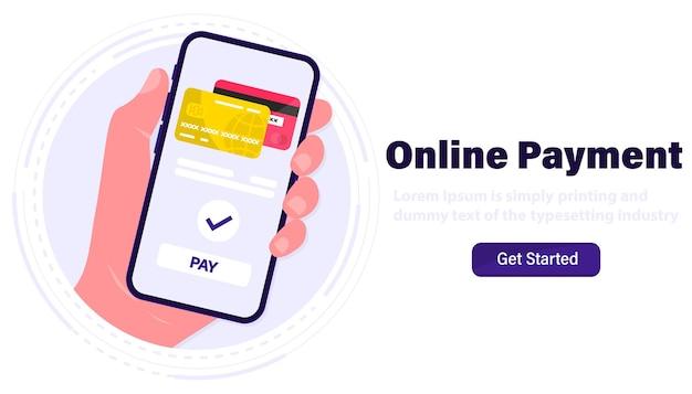 Płatności mobilne. smartfon z płatnością online. karta kredytowa na ekranie telefonu. zakupy online. płatności nfc. aplikacja bankowość, finanse i e-płatność. płać kartą kredytową przez portfel elektroniczny bezprzewodowo