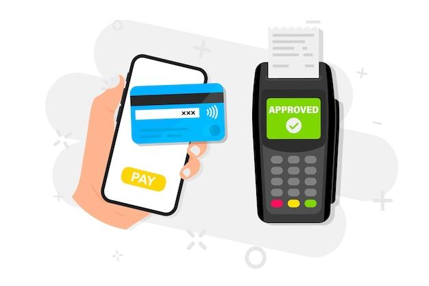 Płatności mobilne za pomocą smartfona. płać kartą kredytową przez portfel elektroniczny bezprzewodowo przez telefon. terminal pos potwierdza płatność. koncepcja płatności nfc. zakupy przez telefon, e-płatność
