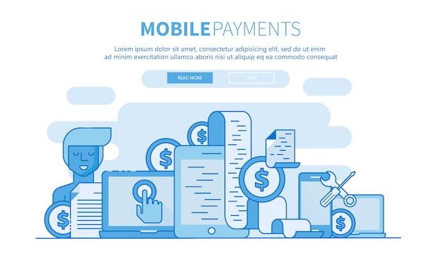 Płatności mobilne zarysu baneru witryny