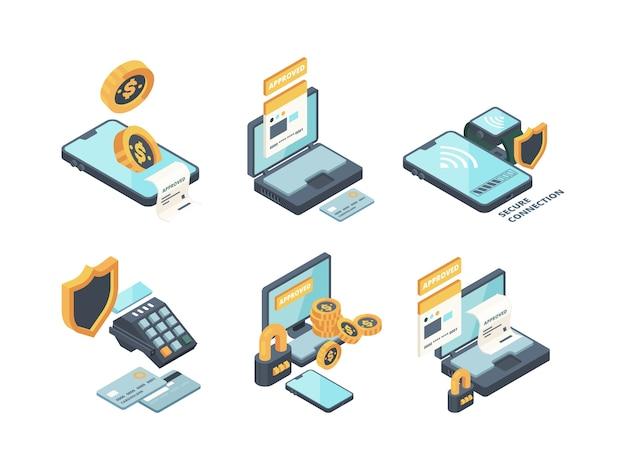 Płatności online. cyfrowa bankowość komputerowa zamawia połączenie finansowane portfel smartfona i karty wektorowe izometryczne ikony. ilustracja płatności smartfonem, izometryczna bankowość portfela internetowego