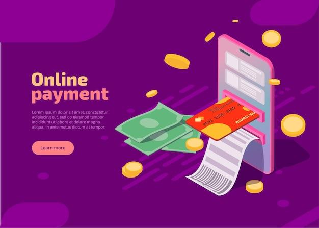 Płatności online izometryczne ilustracje transakcji finansowych i płatności internetowych