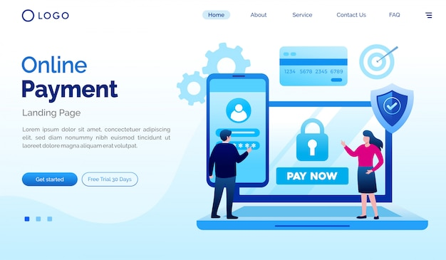 Płatności online lądowania strony internetowej ilustracyjny wektorowy szablon