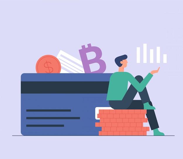 Płatności online mężczyzn, e przenieść cyfrowy portfel ilustracji