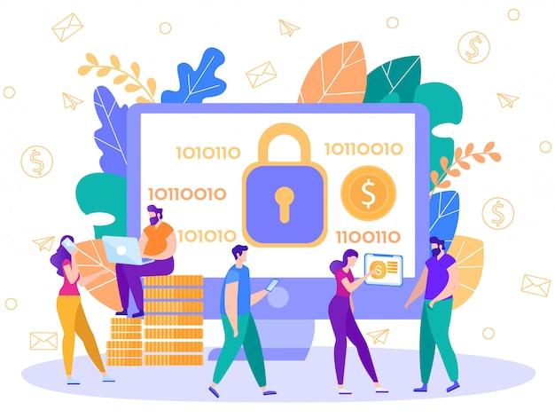 Płatności online technologia bezpieczeństwa płaski wektor