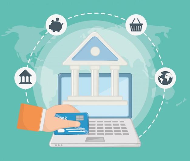 Płatności online zestaw ikon projektu