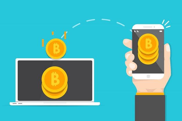 Płatności peer to peer. przesyłanie pieniędzy ze smartfona na komputer. transakcja kryptowalutowa. ilustracji wektorowych.