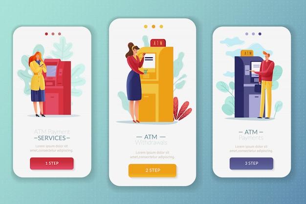 Płatności w bankomatach ludzie ustawione pionowe banery