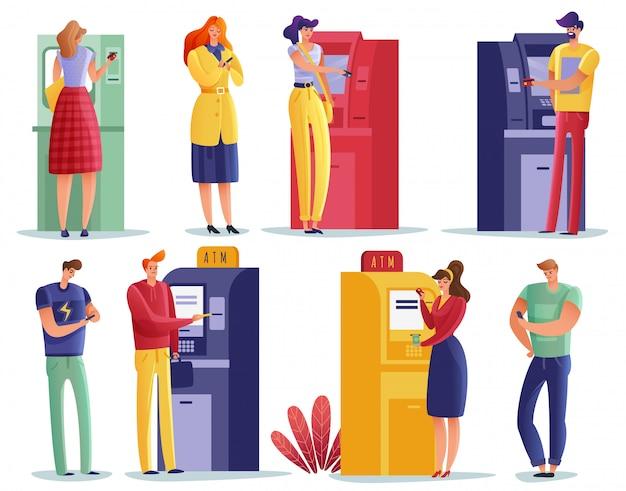 Płatności w bankomatach ustawione przez ludzi.