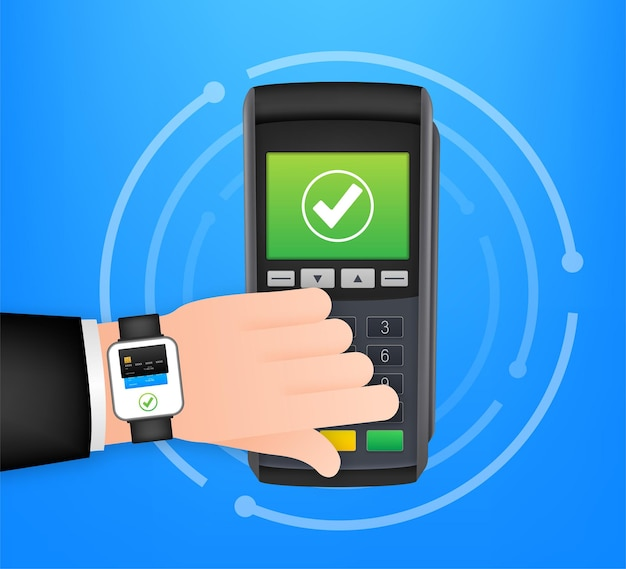 Płatności zbliżeniowe mobilny inteligentny zegarek i bezprzewodowy terminal pos w realistycznym stylu. czas ilustracja wektorowa.