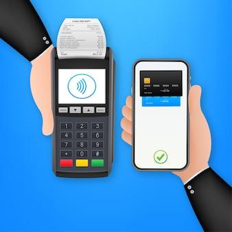 Płatności zbliżeniowe telefon komórkowy i bezprzewodowy terminal pos realistyczny styl. czas ilustracja wektorowa.