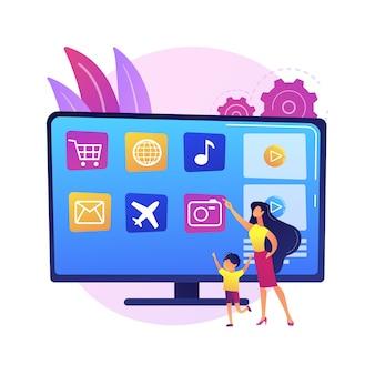 Płatny pomysł na programowanie. nadawanie komercyjne. inteligentna telewizja, pilot do telewizora. infomercial, reklama telewizyjna, nowoczesne telezakupy. ilustracja koncepcja na białym tle