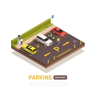 Płatny prostopadły parking dla motocykli, samochodów, skuterów, lekkich pojazdów z zarezerwowanymi miejscami, skład izometrycznyometric