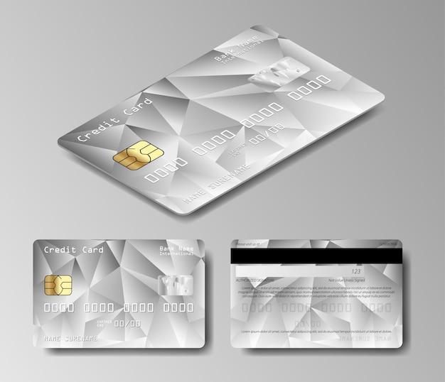 Platynowa karta debetowa. wektor zestaw kart kredytowych