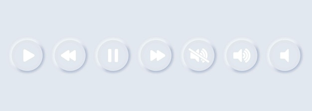 Play, pauza, stop, nagrywanie, przewijanie do przodu, przewijanie do tyłu, poprzedni, następny zestaw ikon przycisków. kolekcja symboli multimedialnych, przyciski odtwarzacza multimedialnego. styl neumorfizmu. wektor eps10. na białym tle
